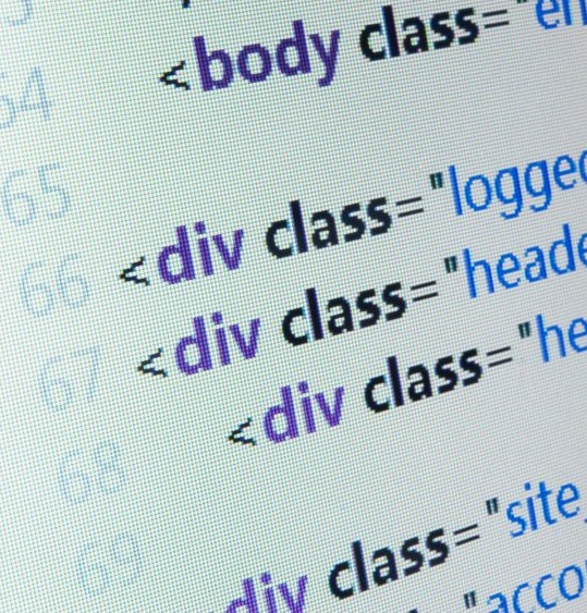 18911929 - html source code close up on computer lcd monitor