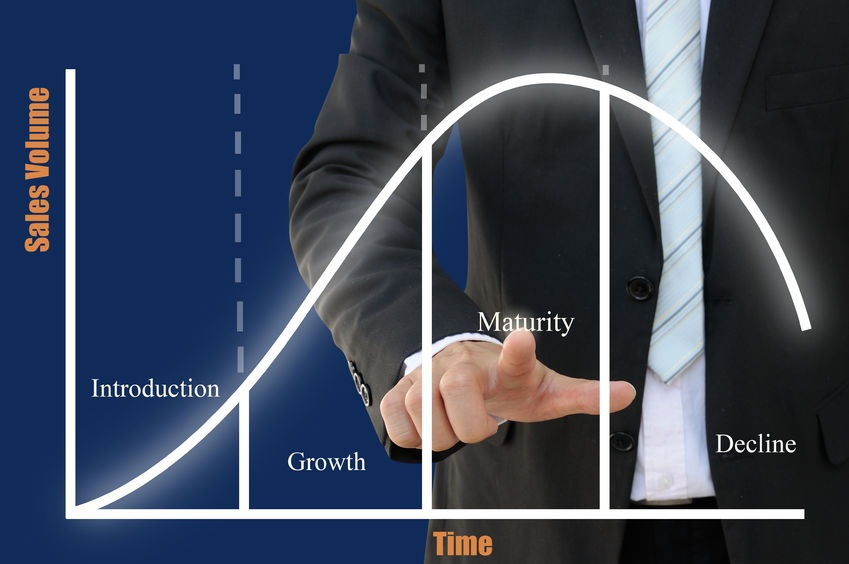 29648445 - businessman pointing product life cycle of business concept