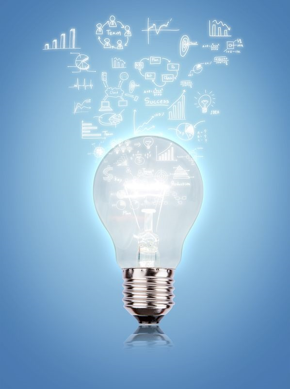 20733862 - light bulb with drawing graph